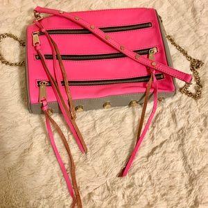 Rebecca Minkoff Hot Pink Five Zip Crossbody Bag
